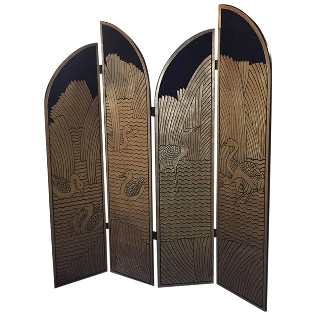 Four-Panel Art Deco Style Gold and Black Floor Screen For Sale