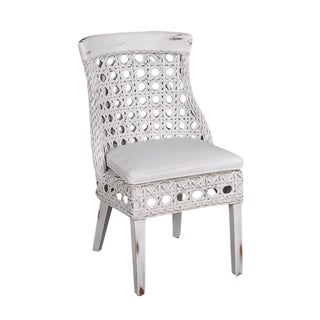 White Aged Wood Side Chair with Cushion