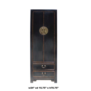 Chinese Oriental Distressed Black Lacquer Moonface Slim Storage Cabinet Preview