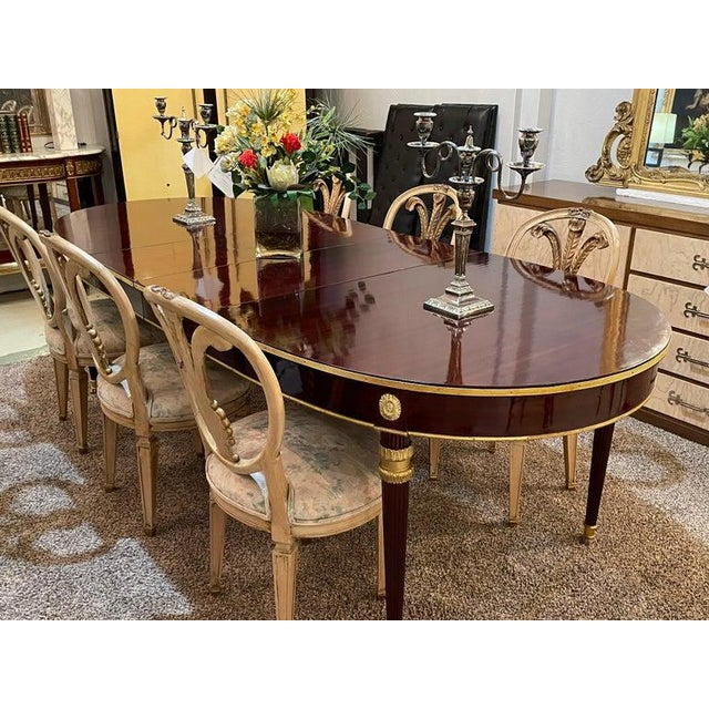 Louis XVI Maison Jansen Dining Table, Mahogany With Bronze Mounts, Four Leaves For Sale - Image 9 of 13