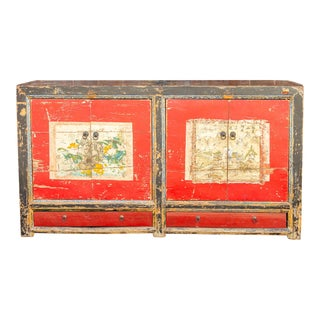 Mongolian Floral Painted Sideboard For Sale