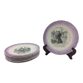 Digoin & Sarreguemines French Humorous Plates - Set of 7