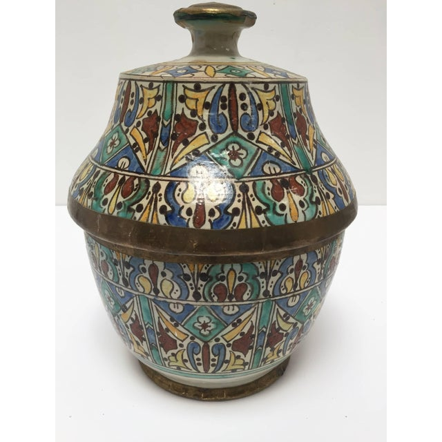 Ceramic Moroccan Ceramic Glazed Storage Tureen Jar with Cover Handcrafted in Fez, Morocco For Sale - Image 7 of 7