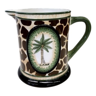 Vintage Leopard & Palm Tree Pattern Ceramic Pitcher
