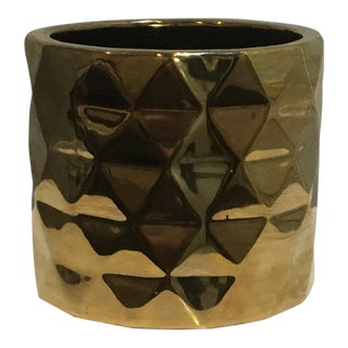 Hollywood Regency Style Metallic Gold Ceramic Vase / Bowl For Sale