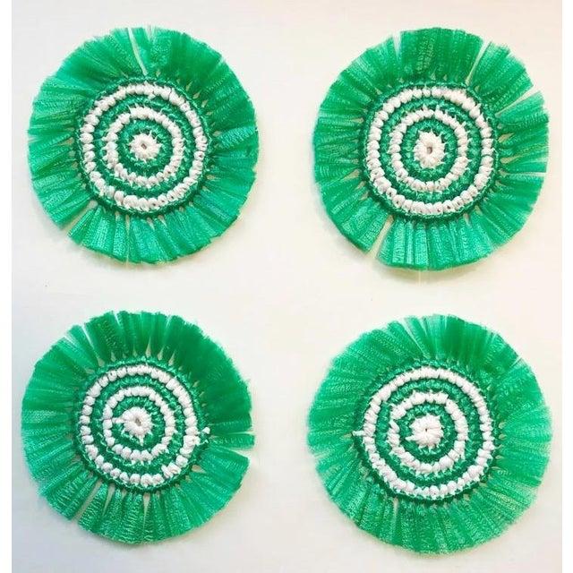 Boho Chic Green & White Woven Fringe Coasters - Set of 4 For Sale - Image 3 of 3