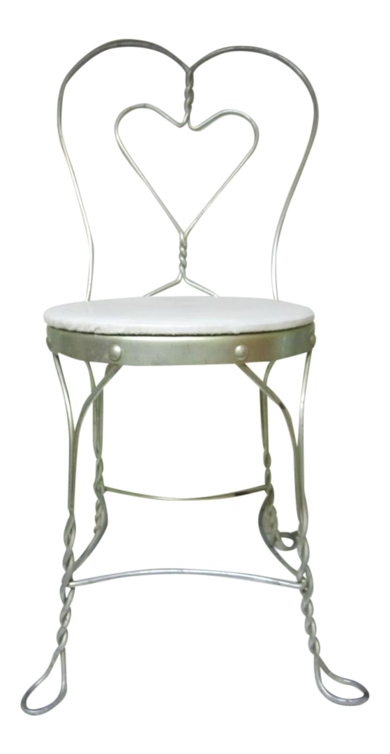 Vintage Metal Ice Cream Parlor Chair With Heart