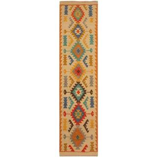 Nyfain Beige/Gray Hand-Woven Kilim Wool Rug -2'8 X 9'8