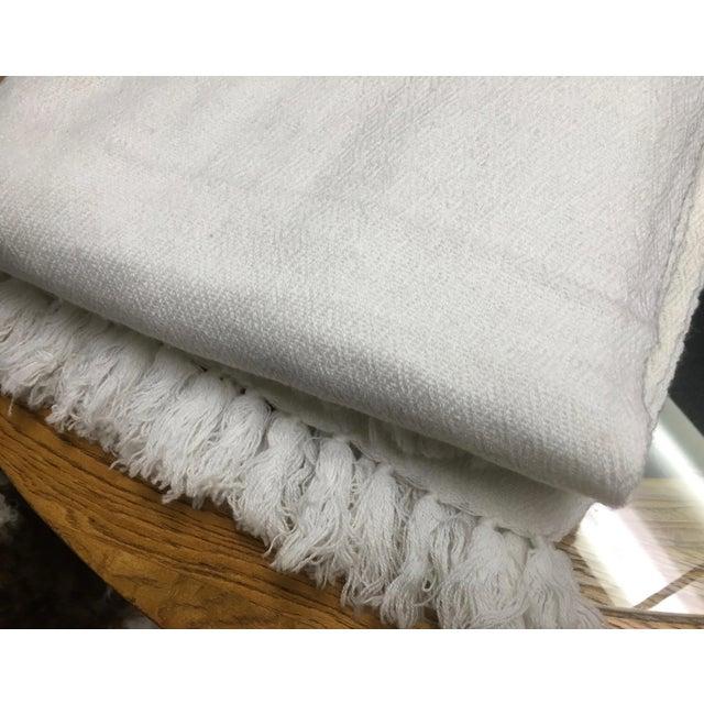 White Tassel Cashmere Blend Blanket - Image 6 of 11