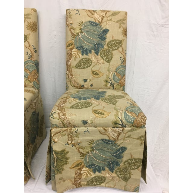 Children's 1980s Organic Modern Yellow Linen Upholstered Parsons Chairs - Set of 4 For Sale - Image 3 of 9