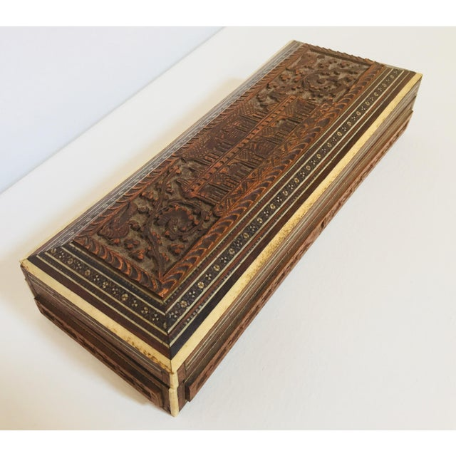 Red Antique Anglo Indian Mother of Pearl Inlay Box For Sale - Image 8 of 12