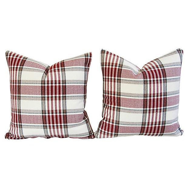 Custom Red, White & Black Plaid Pillows - A Pair - Image 6 of 7