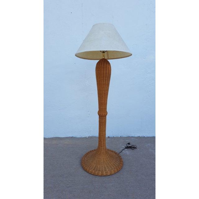 Vintage woven wicker floor lamp chairish vintage woven wicker floor lamp image 11 of 11 aloadofball Image collections