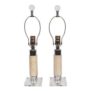 1940s Walter Von Nessen Style Light Onyx, Crystal & Chrome Table Lamps - a Pair For Sale