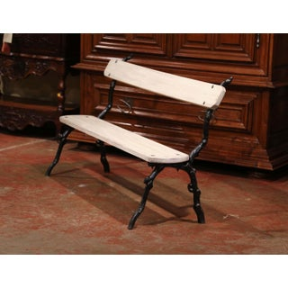 French Iron and Wood Painted Outdoor Public Bench From Normandy Preview
