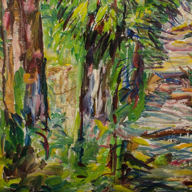 """Mid 20th Century """"Allee"""" Expressionist Style Forest Landscape Oil Painting by Elisabeth Merlicek, Framed For Sale - Image 11 of 13"""