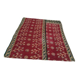 Vintage Indian Reversible Sari Quilt For Sale