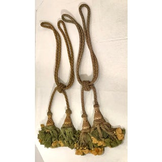 Vintage Belgian Green and Gold Tassel Tiebacks - a Pair Preview