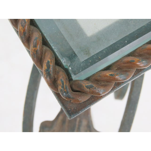 Iron & Etched Glasstop Side Table - Image 5 of 5