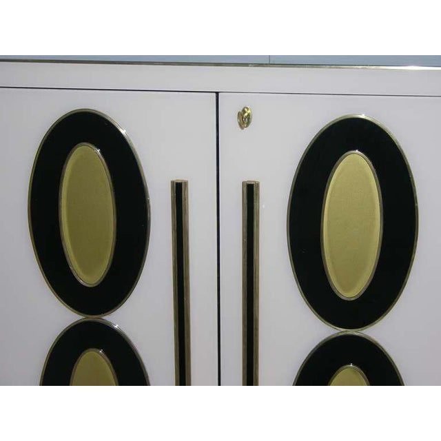 Metal 1970s Italian Art Deco Gold Black and White Cabinets or Sideboards - a Pair For Sale - Image 7 of 11