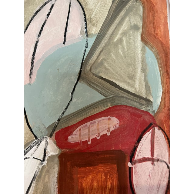Red Contemporary Abstract Mixed-Media Painting For Sale - Image 8 of 10