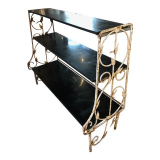 Shabby Industrial Heavy Original 3-Tier Floral Decorated Wrought-Iron Garden Etagere