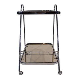 """Art Moderne"" Chrome and Glass Bar Cart For Sale"