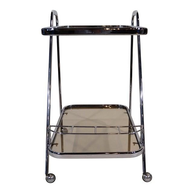 """Art Moderne"" Chrome and Glass Bar Cart For Sale"