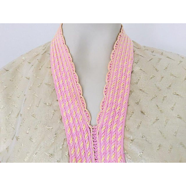Moroccan evening or interior gold metallic brocade dress kaftan with pink trim. Handmade vintage exotic, 1970s metallic...