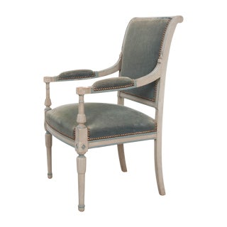 French 19th Century Second Empire Painted Fauteuil For Sale