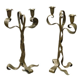Art Nouveau Style Quality Brass Double Candlestick Holders - a Pair For Sale