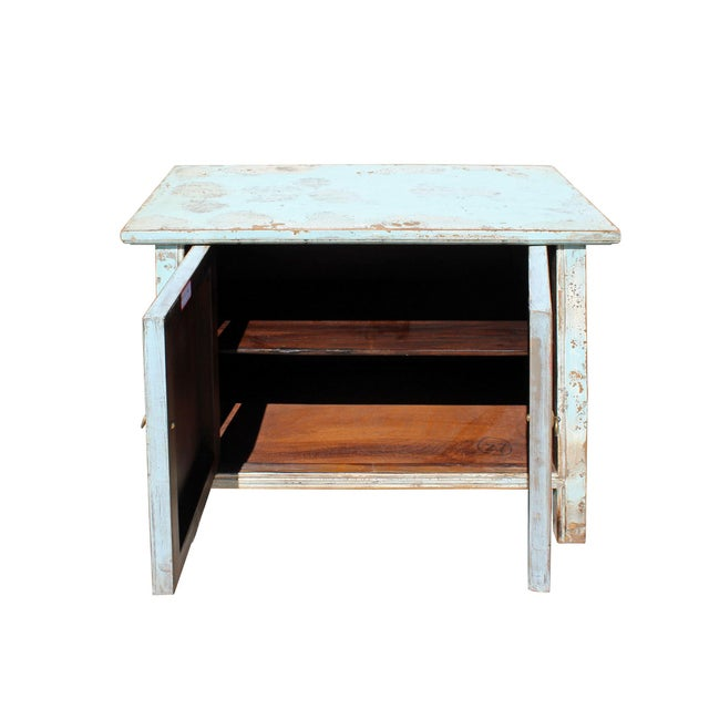 Wood Chinese Distressed Light Pale Blue Fishes Graphic Table Cabinet For Sale - Image 7 of 8