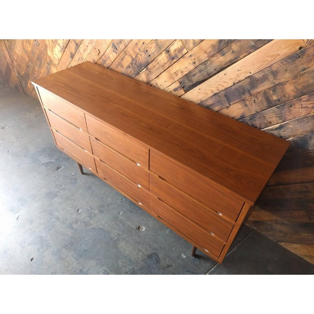 Mid-Century Walnut 9-Drawer Dresser - Image 6 of 7