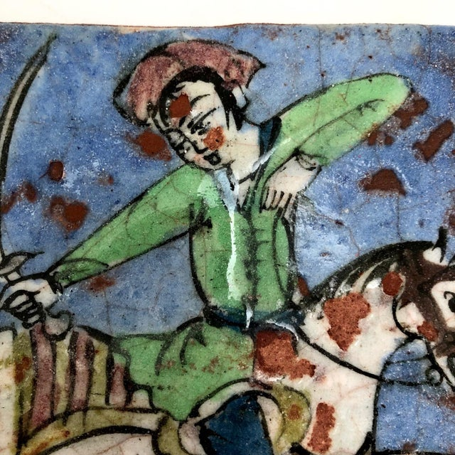 Islamic 19th Century Antique Persian Qajar Hunter on Horse Ceramic Tile For Sale - Image 3 of 12
