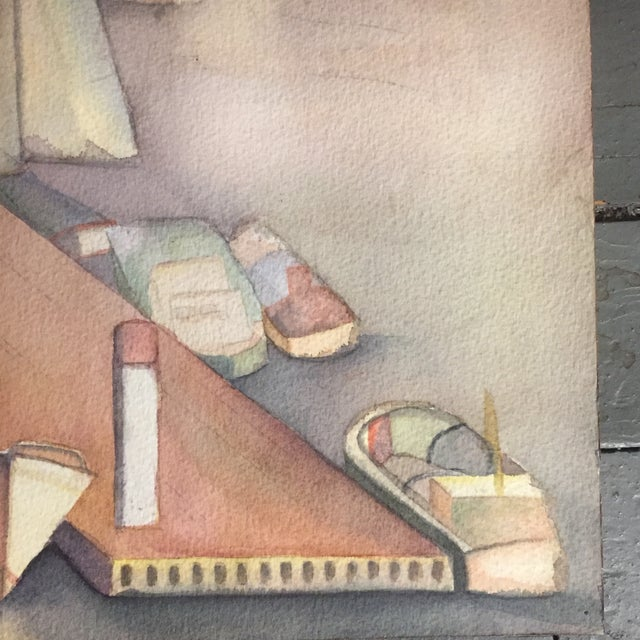 Great original vintage Watercolor painting on paper Unsigned Pencil mark for looks like unfinished Gerri's wheel 19 xx 24...