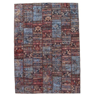 "Pasargad N Y Persian Patch-Work Decorative Hand-Knotted Area Rug- 7'x9'7"" For Sale"