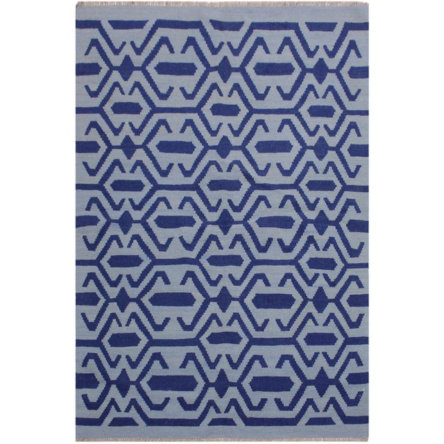 Blue Contemporary Kilim Sager Blue Hand-Woven Wool Rug- 4′4″ × 5′9″ For Sale - Image 8 of 8