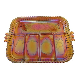 Mid Century Indiana Fruits Style Amber Carnival Glass Divided Serving Tray For Sale
