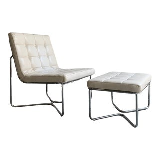 Vintage Modern Chrome Lounge Chair + Ottoman - 2 Pieces For Sale