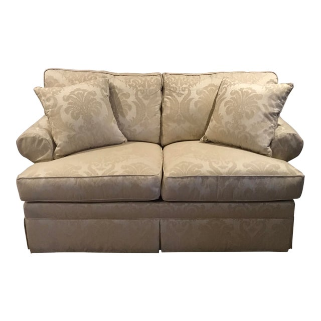 Modern Ethan Allen Rolled Arm Love Seat Sofa For Sale