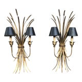 Image of Mid-Century Gold Gilt Wheat Sheaf Wall Light Sconces - a Pair For Sale