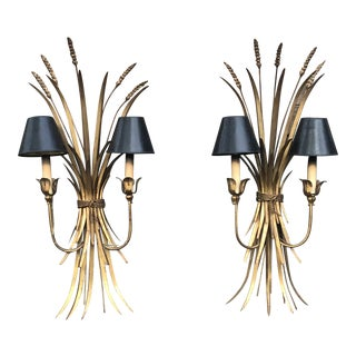 Mid-Century Gold Gilt Wheat Sheaf Wall Light Sconces - a Pair For Sale