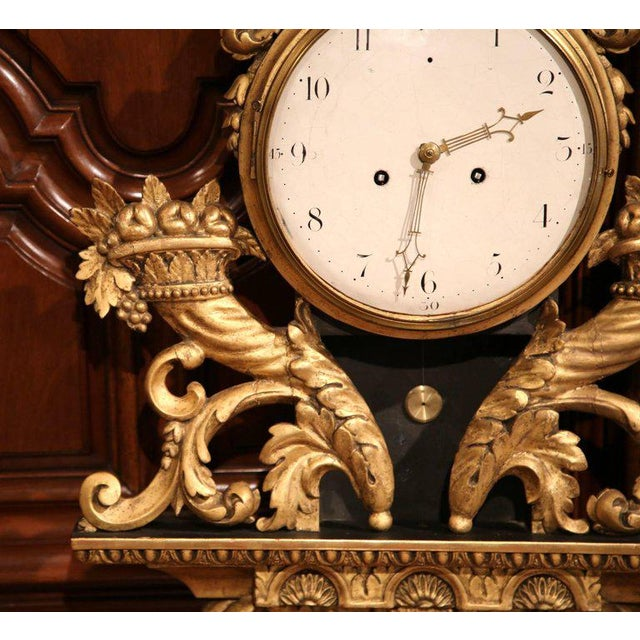 Mid 18th Century 18th Century French Louis XV Carved Gilt Fruit Basket and Shell Wall Clock For Sale - Image 5 of 10