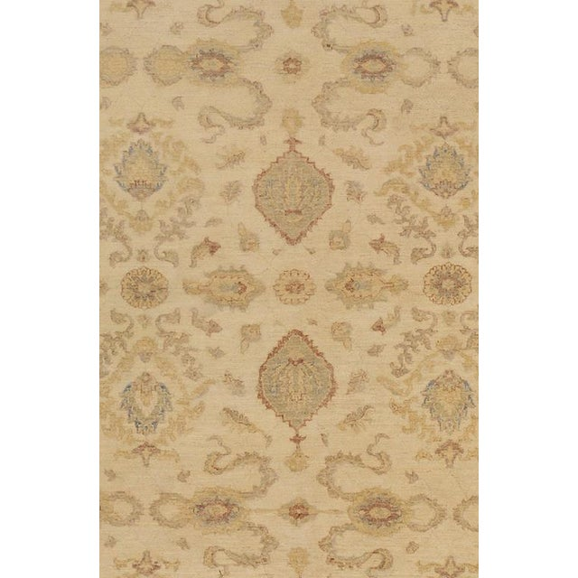 Traditional Kafkaz Peshawar Linwood Ivory & Gold Wool Rug - 9'0 X 12'1 For Sale - Image 3 of 7