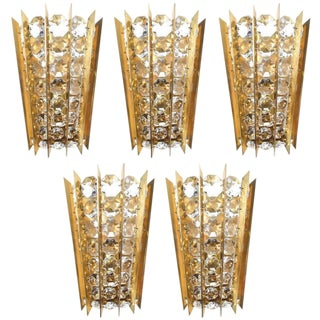 Set of Five Crystal and Brass Sconces by Bakalowits & Sohne For Sale