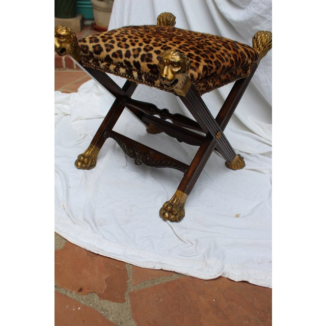 19th century Italian stool Provenance baroness Margarita Von Soosten. Possibly leopard. LA JOLLA, Calif., May 1...