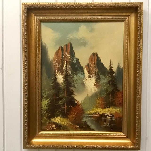 21a6790c785 Vintage Framed Landscape Oil Painting on Canvas For Sale In Dallas - Image  6 of 6
