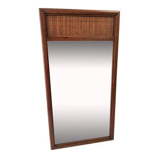 Century Furniture Walnut & Cane Mirror For Sale