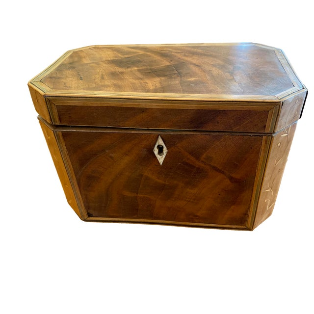 19th Century Antique Octagonal Wooden Tea Caddy For Sale - Image 9 of 9