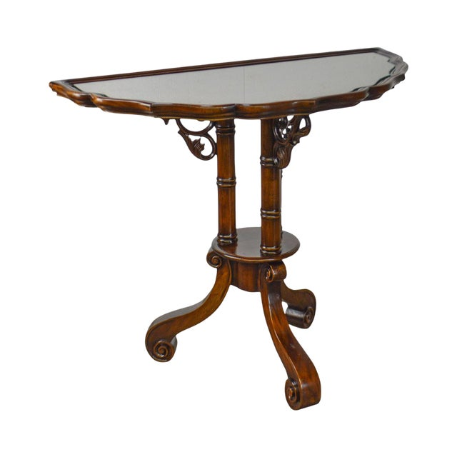 William IV/Regency Solid Mahogany Scalloped Top Demilune Pedestal Side Table For Sale
